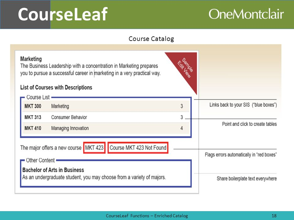 CourseLeaf Functions – Enriched Catalog18 CourseLeaf Course Catalog