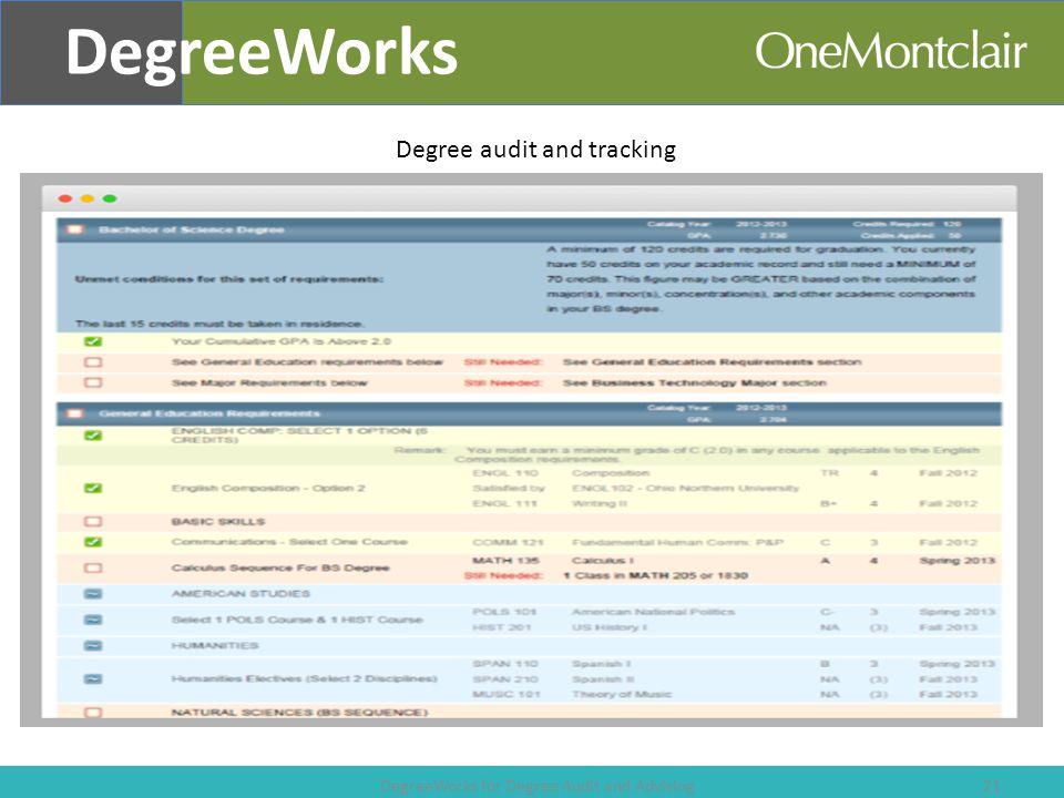 DegreeWorks for Degree Audit and Advising 21 DegreeWorks Degree audit and tracking