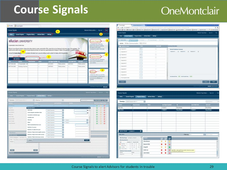 Course Signals to alert Advisors for students in trouble29 Course Signals
