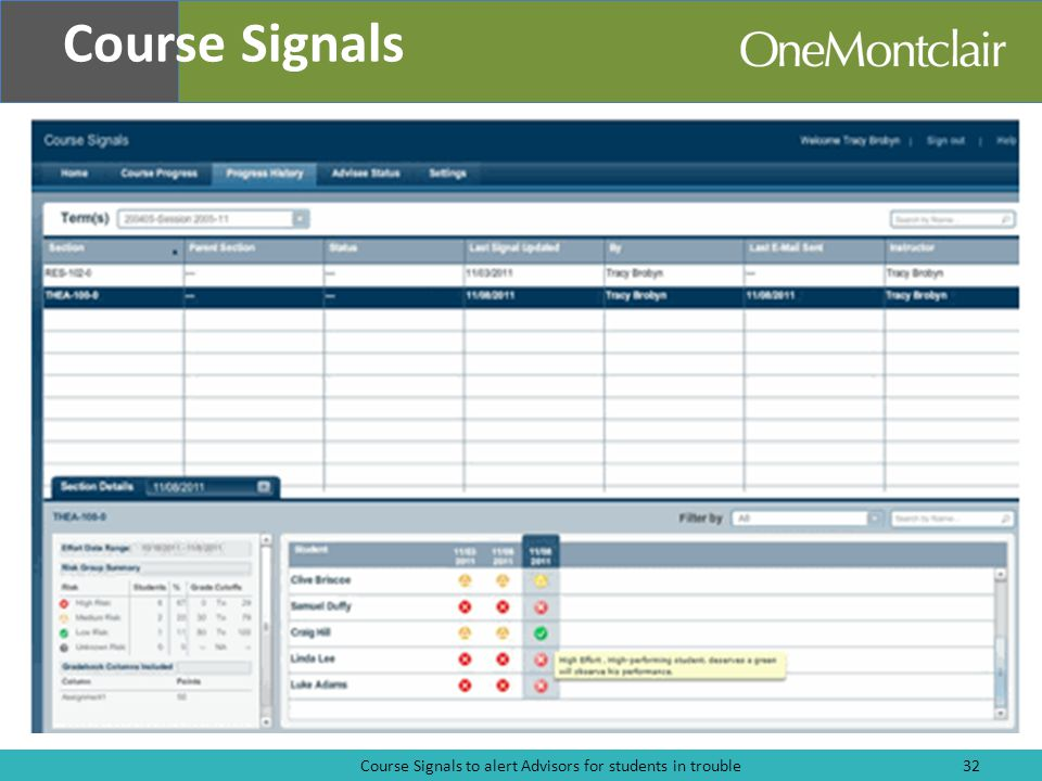 Course Signals to alert Advisors for students in trouble32 Course Signals
