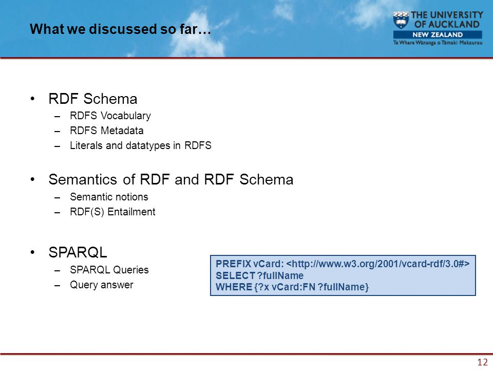 12 What we discussed so far… RDF Schema –RDFS Vocabulary –RDFS Metadata –Literals and datatypes in RDFS Semantics of RDF and RDF Schema –Semantic notions –RDF(S) Entailment SPARQL –SPARQL Queries –Query answer PREFIX vCard: SELECT fullName WHERE { x vCard:FN fullName}