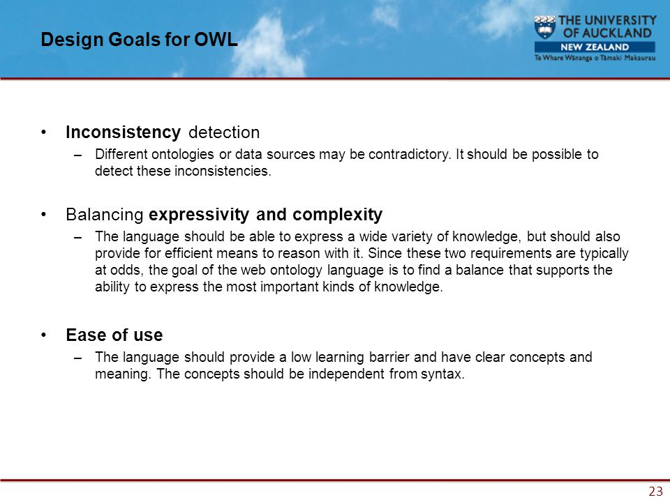 23 Design Goals for OWL Inconsistency detection –Different ontologies or data sources may be contradictory.