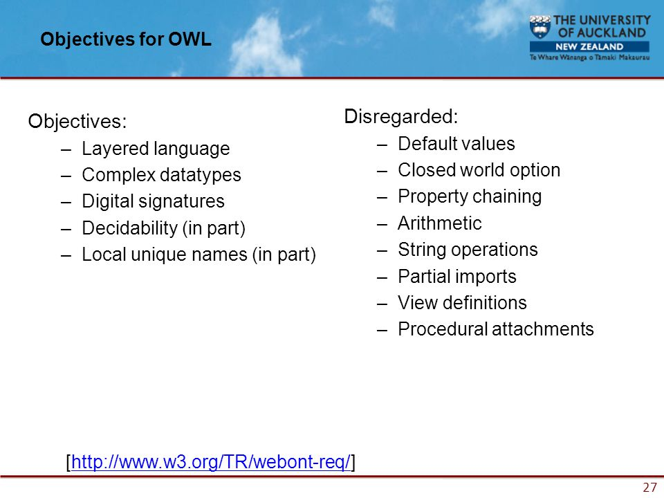 27 Objectives for OWL Objectives: –Layered language –Complex datatypes –Digital signatures –Decidability (in part) –Local unique names (in part) Disregarded: –Default values –Closed world option –Property chaining –Arithmetic –String operations –Partial imports –View definitions –Procedural attachments [http://www.w3.org/TR/webont-req/]http://www.w3.org/TR/webont-req/