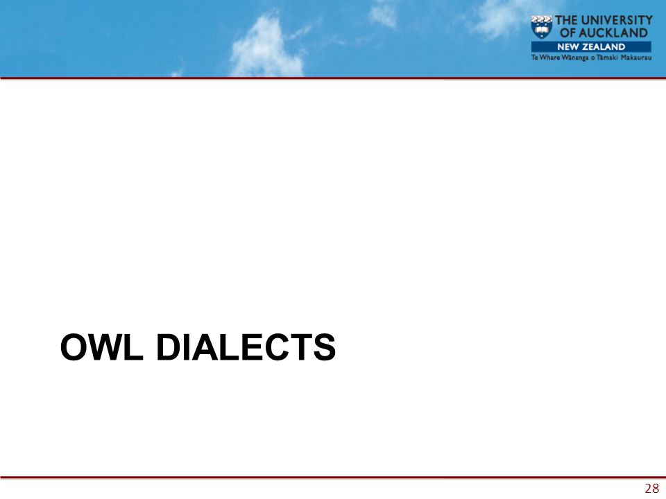 28 OWL DIALECTS