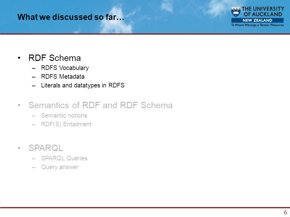 6 What we discussed so far… RDF Schema –RDFS Vocabulary –RDFS Metadata –Literals and datatypes in RDFS Semantics of RDF and RDF Schema –Semantic notions –RDF(S) Entailment SPARQL –SPARQL Queries –Query answer