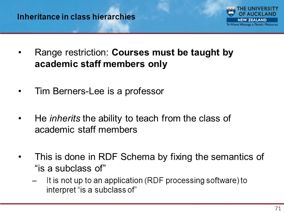 71 Inheritance in class hierarchies Range restriction: Courses must be taught by academic staff members only Tim Berners-Lee is a professor He inherits the ability to teach from the class of academic staff members This is done in RDF Schema by fixing the semantics of is a subclass of –It is not up to an application (RDF processing software) to interpret is a subclass of