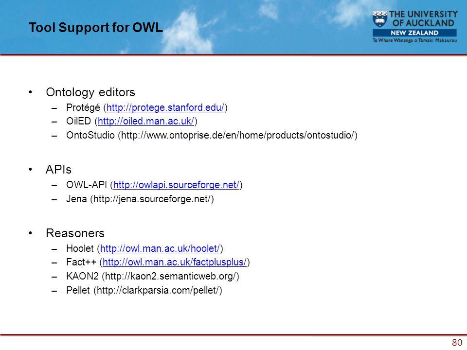 80 Tool Support for OWL Ontology editors –Protégé (http://protege.stanford.edu/)http://protege.stanford.edu/ –OilED (http://oiled.man.ac.uk/)http://oiled.man.ac.uk/ –OntoStudio (http://www.ontoprise.de/en/home/products/ontostudio/) APIs –OWL-API (http://owlapi.sourceforge.net/)http://owlapi.sourceforge.net/ –Jena (http://jena.sourceforge.net/) Reasoners –Hoolet (http://owl.man.ac.uk/hoolet/)http://owl.man.ac.uk/hoolet/ –Fact++ (http://owl.man.ac.uk/factplusplus/)http://owl.man.ac.uk/factplusplus/ –KAON2 (http://kaon2.semanticweb.org/) –Pellet (http://clarkparsia.com/pellet/)