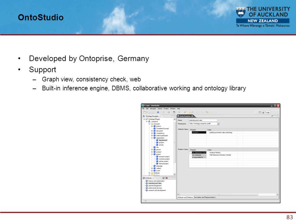83 OntoStudio Developed by Ontoprise, Germany Support –Graph view, consistency check, web –Built-in inference engine, DBMS, collaborative working and ontology library