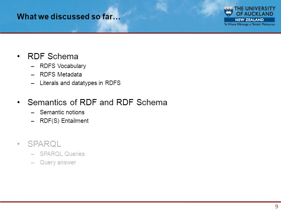 9 What we discussed so far… RDF Schema –RDFS Vocabulary –RDFS Metadata –Literals and datatypes in RDFS Semantics of RDF and RDF Schema –Semantic notions –RDF(S) Entailment SPARQL –SPARQL Queries –Query answer