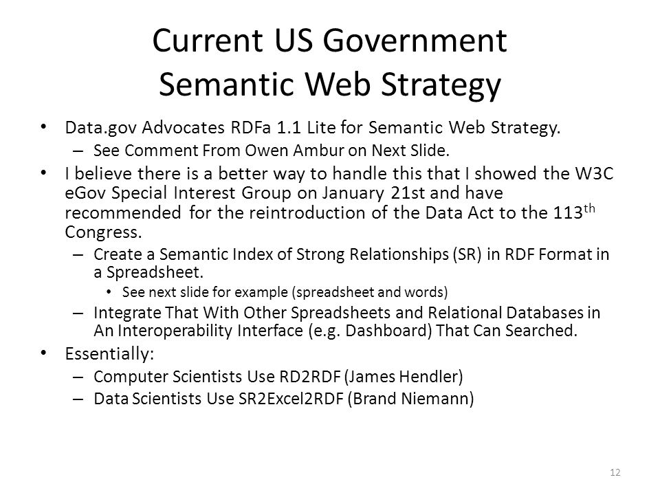 Current US Government Semantic Web Strategy Data.gov Advocates RDFa 1.1 Lite for Semantic Web Strategy. – See Comment From Owen Ambur on Next Slide. I