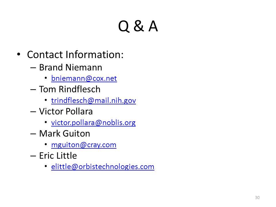Q & A Contact Information: – Brand Niemann bniemann@cox.net – Tom Rindflesch trindflesch@mail.nih.gov – Victor Pollara victor.pollara@noblis.org – Mark Guiton mguiton@cray.com – Eric Little elittle@orbistechnologies.com 30