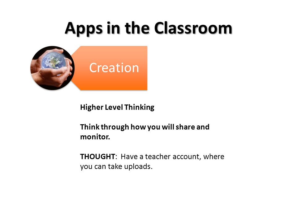 Apps in the Classroom Creation Higher Level Thinking Think through how you will share and monitor.