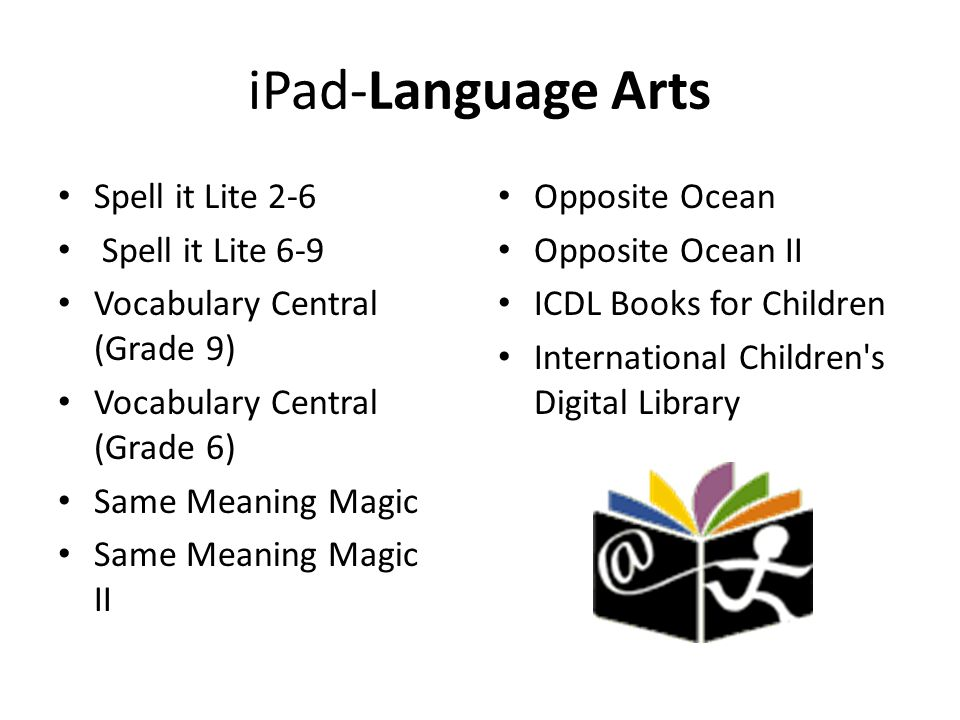 iPad-Language Arts Spell it Lite 2-6 Spell it Lite 6-9 Vocabulary Central (Grade 9) Vocabulary Central (Grade 6) Same Meaning Magic Same Meaning Magic II Opposite Ocean Opposite Ocean II ICDL Books for Children International Children s Digital Library