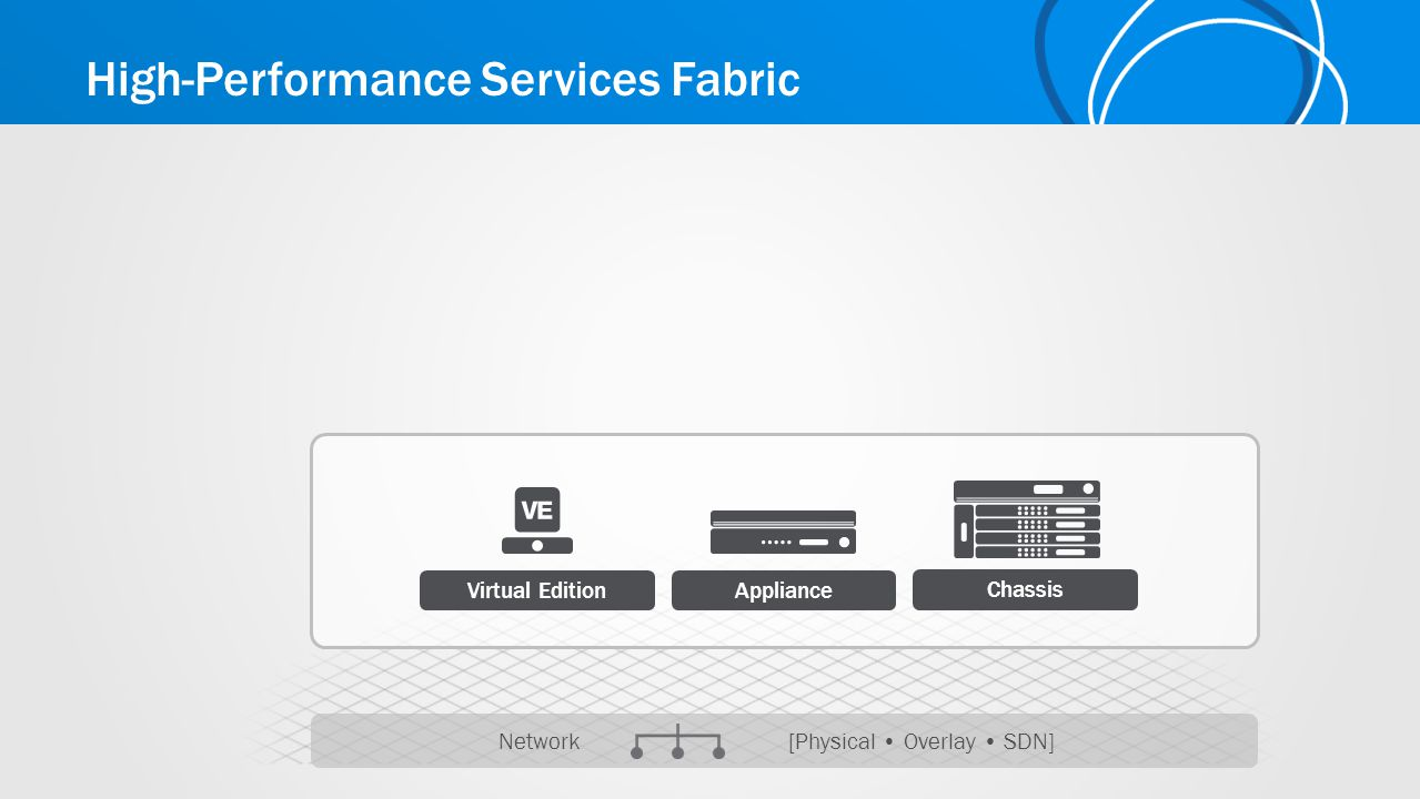 High-Performance Services Fabric Network [Physical Overlay SDN] Virtual Edition Chassis Appliance
