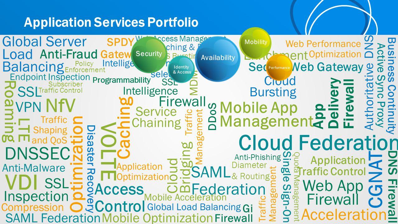 SSL Inspection LTE Roaming Authoritative DNS Cloud Federation Cloud Bridging Acceleration Mobile Optimization Mobile App Management SDN VDI Diameter &