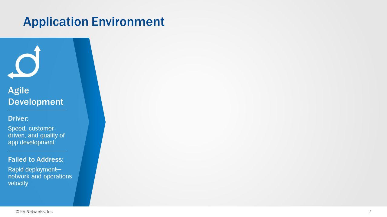 © F5 Networks, Inc 7 Agile Development Application Environment