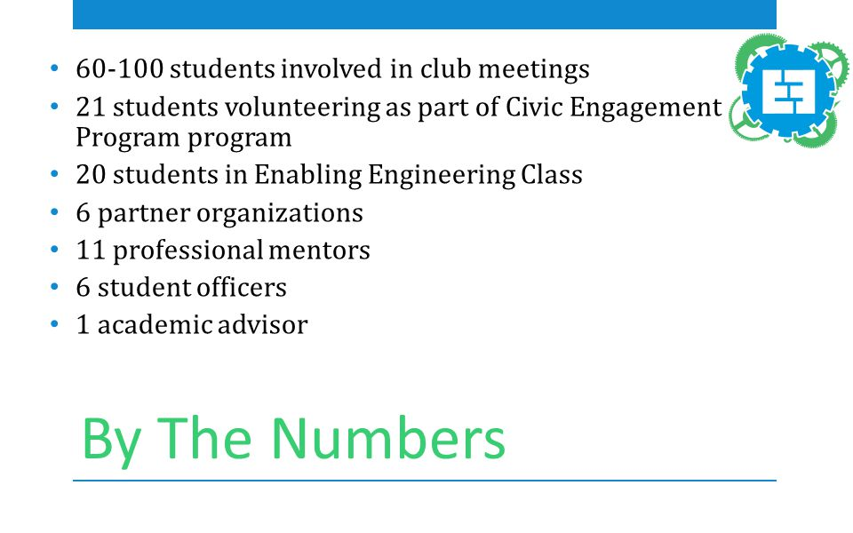 By The Numbers 60-100 students involved in club meetings 21 students volunteering as part of Civic Engagement Program program 20 students in Enabling Engineering Class 6 partner organizations 11 professional mentors 6 student officers 1 academic advisor