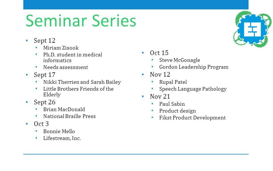 Seminar Series Sept 12 Miriam Zisook Ph.D.