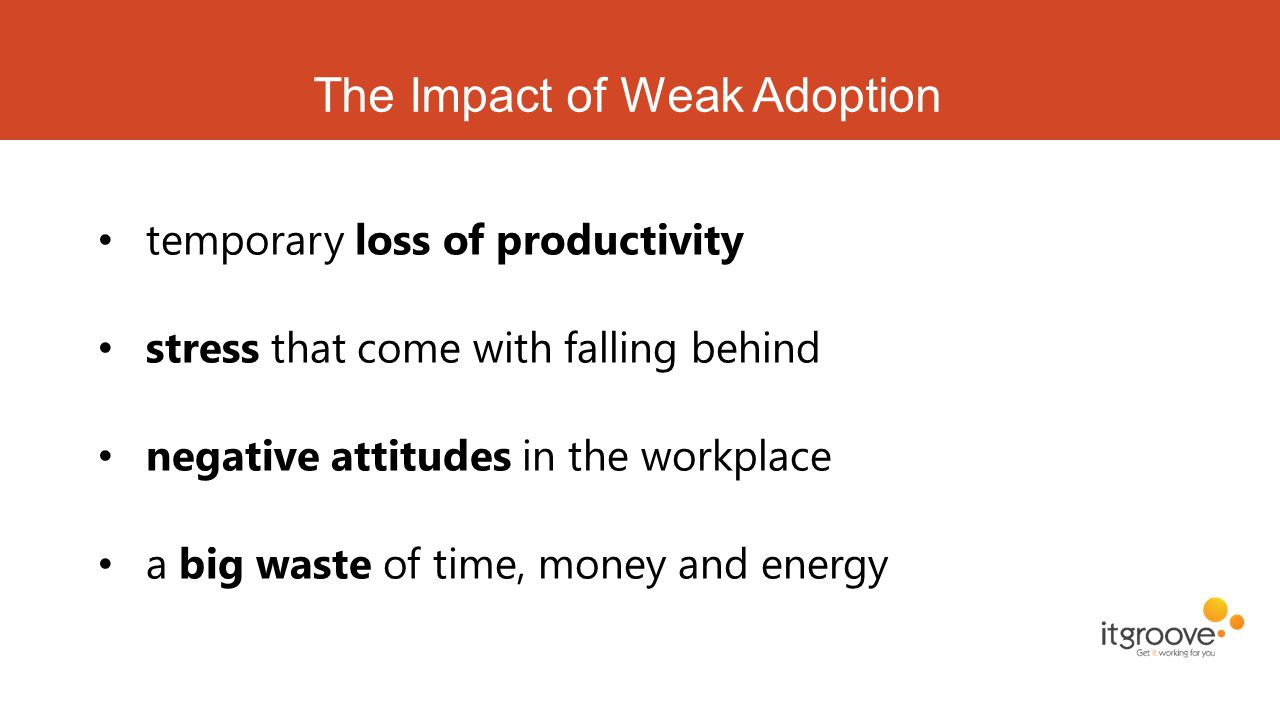 The Impact of Weak Adoption temporary loss of productivity stress that come with falling behind negative attitudes in the workplace a big waste of tim