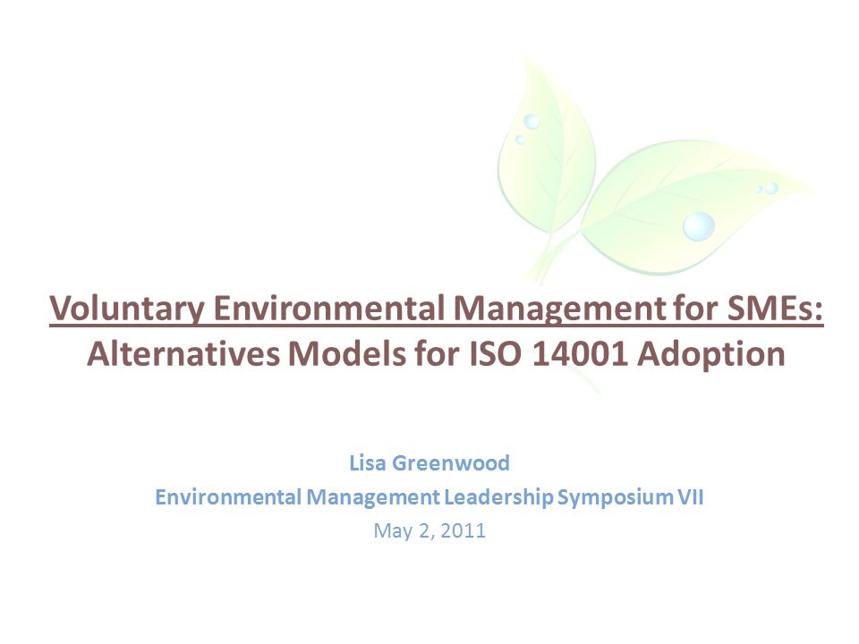 Outline Background – SMEs – ISO 14001 – what and why.