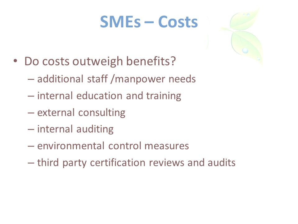 SMEs – Costs Do costs outweigh benefits.