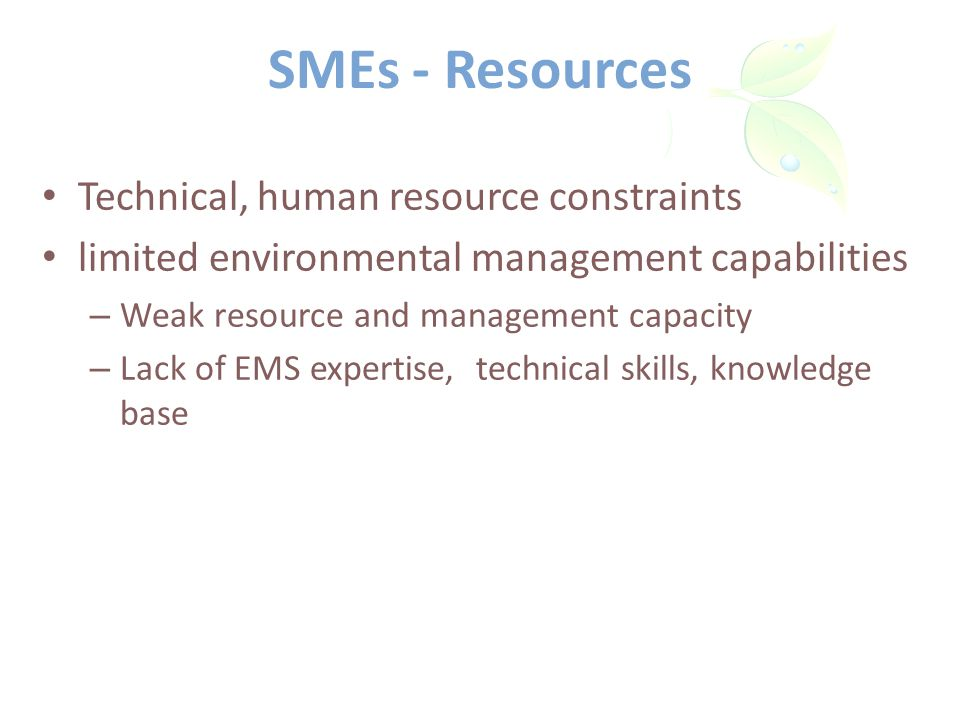 SMEs - Resources Technical, human resource constraints limited environmental management capabilities – Weak resource and management capacity – Lack of EMS expertise, technical skills, knowledge base
