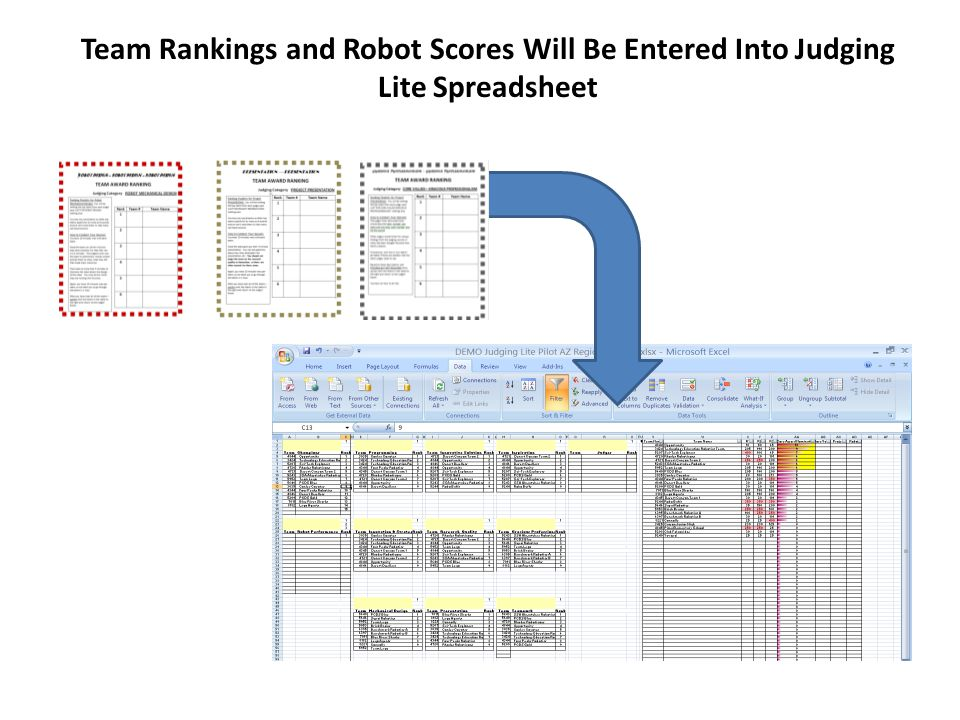 Team Rankings and Robot Scores Will Be Entered Into Judging Lite Spreadsheet