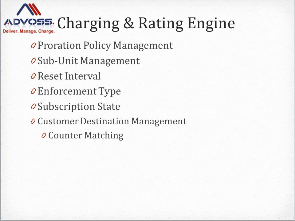 Charging & Rating Engine A list of access numbers to which calls are always allowed even for unidentified subscribers and are not charged 0 Free Numbers / URIs A list of numbers / URIs to which calls are allowed for free without charging but only available to identified subscribers 0 Toll Free Numbers A list of incoming numbers with a Rate Adjustment to the standard per minute rate on the call