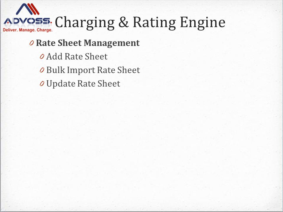 Charging & Rating Engine 0 Rate Sheet Management 0 Add Rate Sheet 0 Bulk Import Rate Sheet 0 Update Rate Sheet