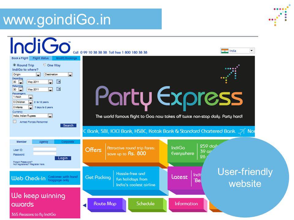 www.goindiGo.in User-friendly website