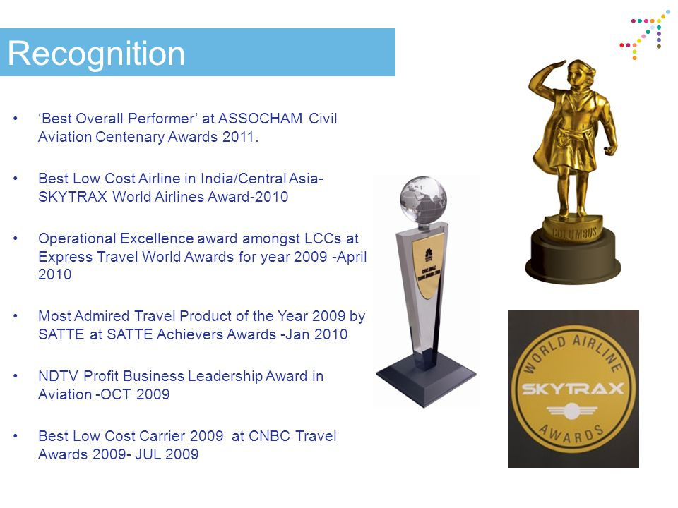 Recognition 'Best Overall Performer' at ASSOCHAM Civil Aviation Centenary Awards 2011. Best Low Cost Airline in India/Central Asia- SKYTRAX World Airl