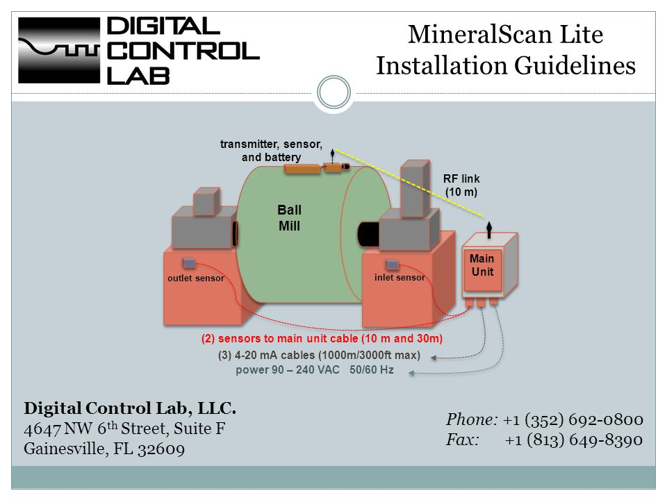 MineralScan Lite– System Components The Main Unit should be installed near the mill, so the supplied 10 and 30 meter (30 and 90 ft.) cables coils will reach both the Inlet/Outlet bearing sensors from the Main Base Unit.