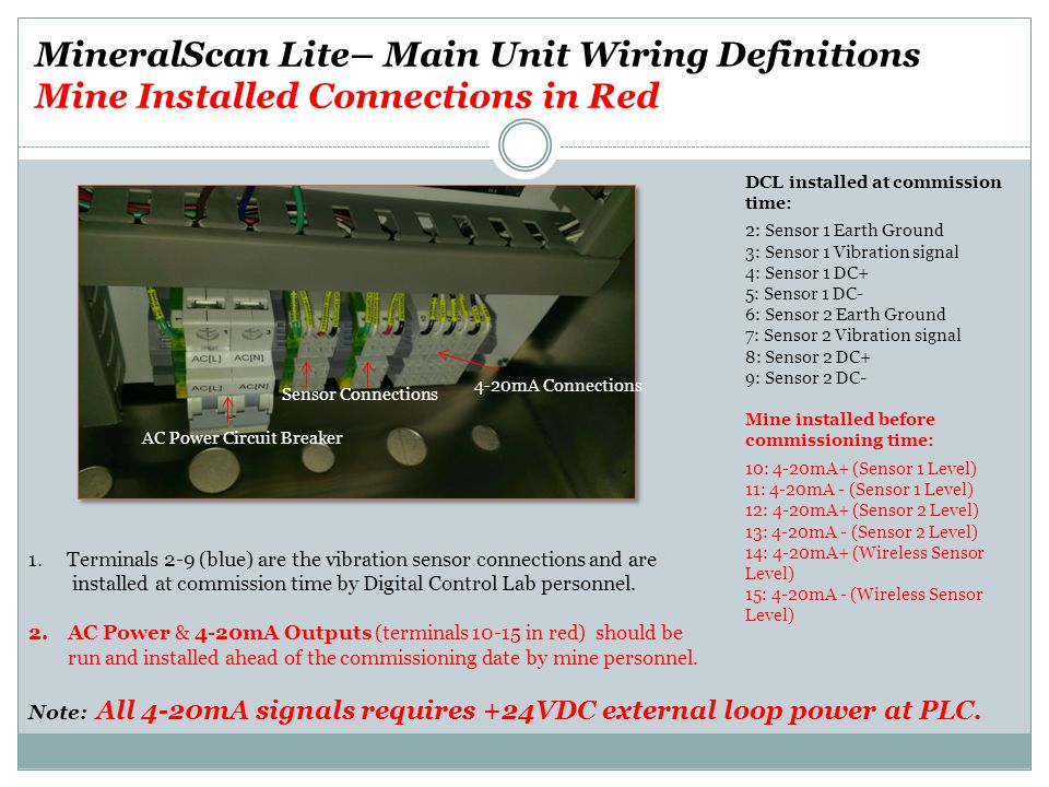 DCL installed at commission time: 2: Sensor 1 Earth Ground 3: Sensor 1 Vibration signal 4: Sensor 1 DC+ 5: Sensor 1 DC- 6: Sensor 2 Earth Ground 7: Sensor 2 Vibration signal 8: Sensor 2 DC+ 9: Sensor 2 DC- Mine installed before commissioning time: 10: 4-20mA+ (Sensor 1 Level) 11: 4-20mA - (Sensor 1 Level) 12: 4-20mA+ (Sensor 2 Level) 13: 4-20mA - (Sensor 2 Level) 14: 4-20mA+ (Wireless Sensor Level) 15: 4-20mA - (Wireless Sensor Level) 1.