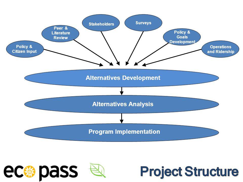 3 Alternatives Analysis Policy & Citizen Input Peer & Literature Review Stakeholders Surveys Policy & Goals Development Operations and Ridership Alternatives Development Program Implementation 3