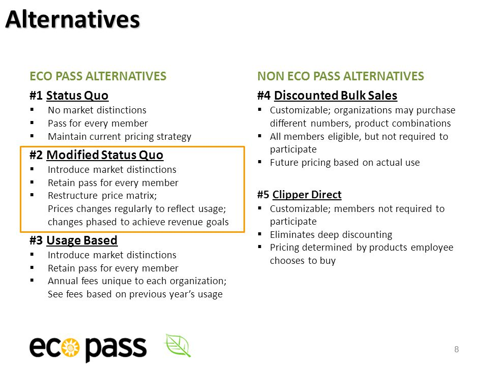 8 ECO PASS ALTERNATIVES #1 Status Quo  No market distinctions  Pass for every member  Maintain current pricing strategy #2 Modified Status Quo  Introduce market distinctions  Retain pass for every member  Restructure price matrix; Prices changes regularly to reflect usage; changes phased to achieve revenue goals #3 Usage Based  Introduce market distinctions  Retain pass for every member  Annual fees unique to each organization; See fees based on previous year's usage NON ECO PASS ALTERNATIVES #4 Discounted Bulk Sales  Customizable; organizations may purchase different numbers, product combinations  All members eligible, but not required to participate  Future pricing based on actual use #5 Clipper Direct  Customizable; members not required to participate  Eliminates deep discounting  Pricing determined by products employee chooses to buy 8Alternatives