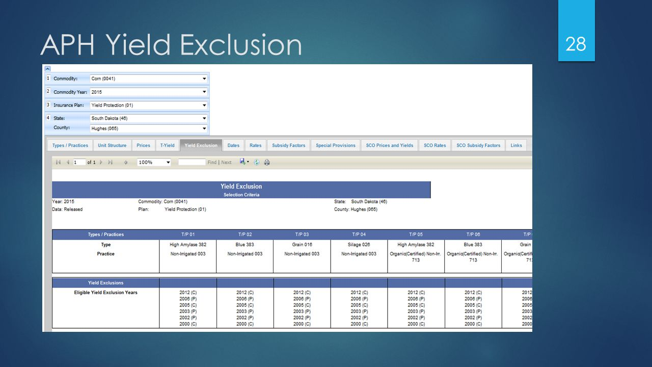 APH Yield Exclusion 28