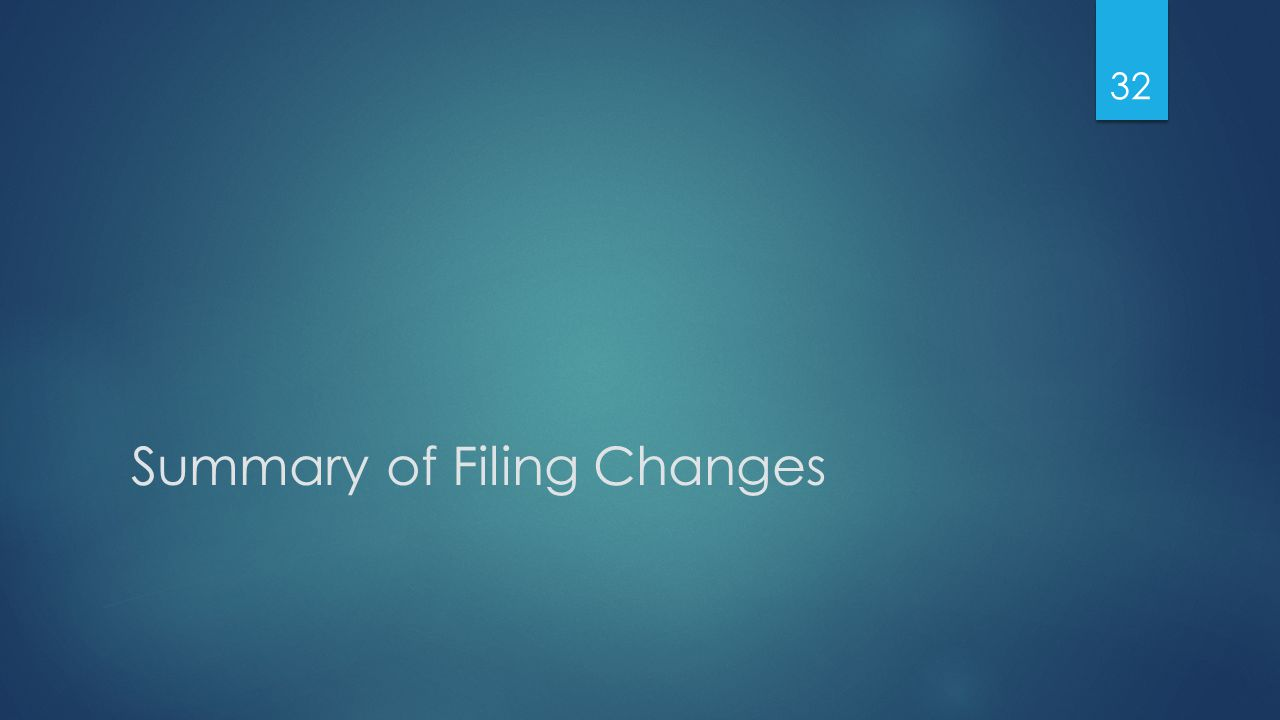 Summary of Filing Changes 32