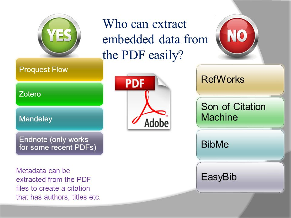 Proquest FlowZoteroMendeley Endnote (only works for some recent PDFs) RefWorks Son of Citation Machine BibMeEasyBib Who can extract embedded data from