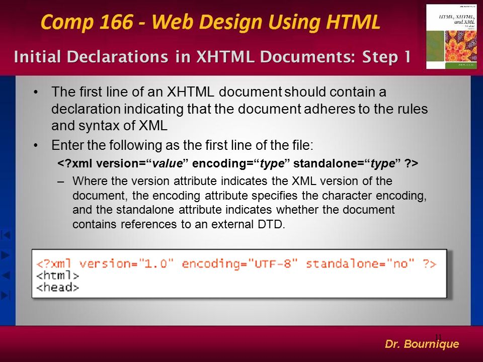 11 Initial Declarations in XHTML Documents: Step 1 The first line of an XHTML document should contain a declaration indicating that the document adher