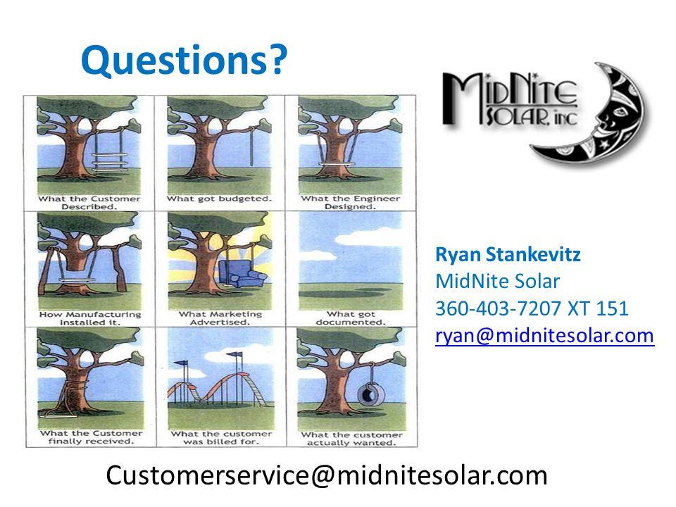 Customerservice@midnitesolar.com Questions? Ryan Stankevitz MidNite Solar 360-403-7207 XT 151 ryan@midnitesolar.com