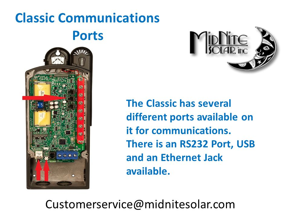 The Classic has several different ports available on it for communications.