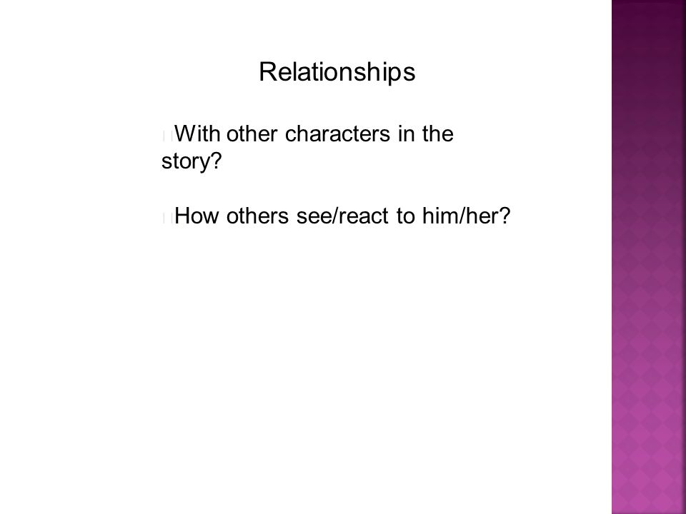 Relationships With other characters in the story? How others see/react to him/her?