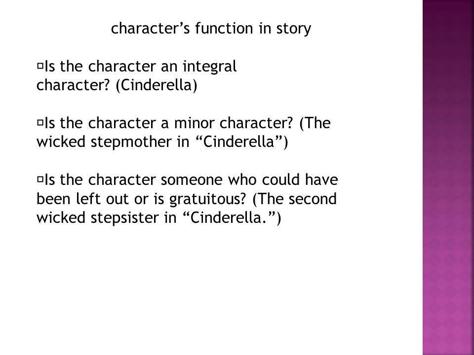 character's function in story Is the character an integral character.