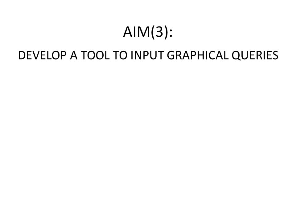 DEVELOP A TOOL TO INPUT GRAPHICAL QUERIES AIM(3):