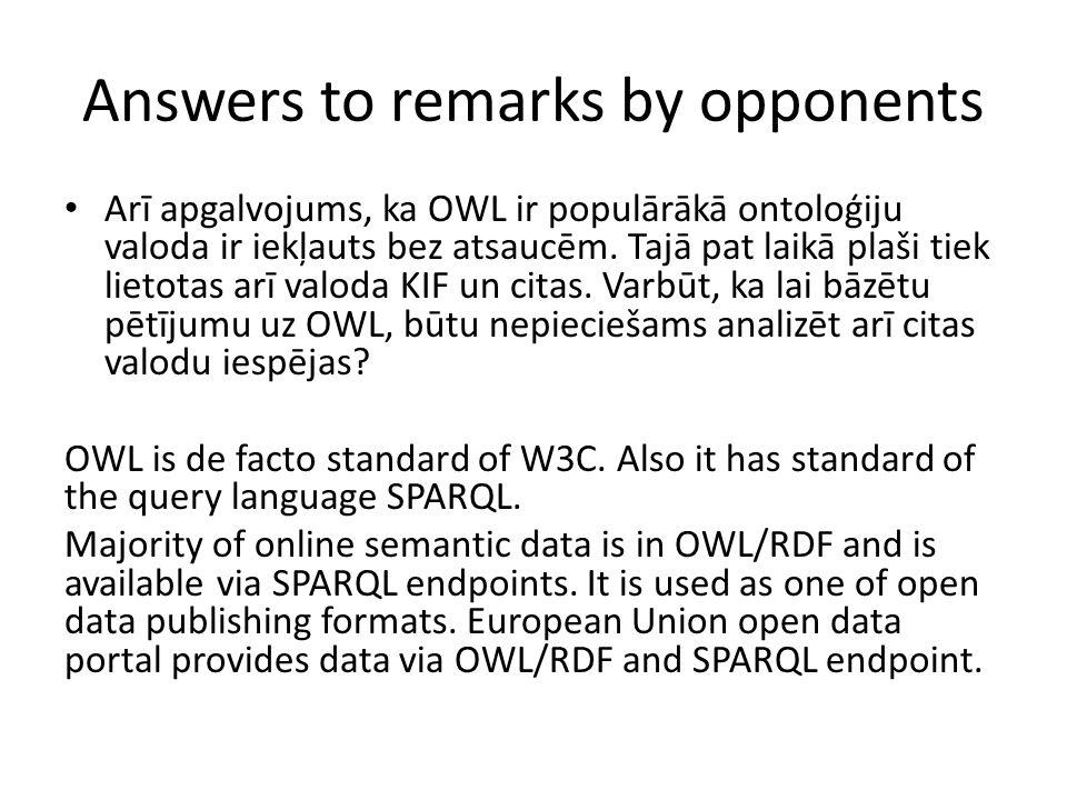 Answers to remarks by opponents Arī apgalvojums, ka OWL ir populārākā ontoloģiju valoda ir iekļauts bez atsaucēm. Tajā pat laikā plaši tiek lietotas a