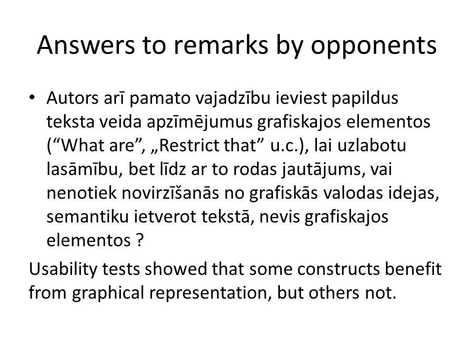 """Answers to remarks by opponents Autors arī pamato vajadzību ieviest papildus teksta veida apzīmējumus grafiskajos elementos ( What are , """"Restrict that u.c.), lai uzlabotu lasāmību, bet līdz ar to rodas jautājums, vai nenotiek novirzīšanās no grafiskās valodas idejas, semantiku ietverot tekstā, nevis grafiskajos elementos ."""