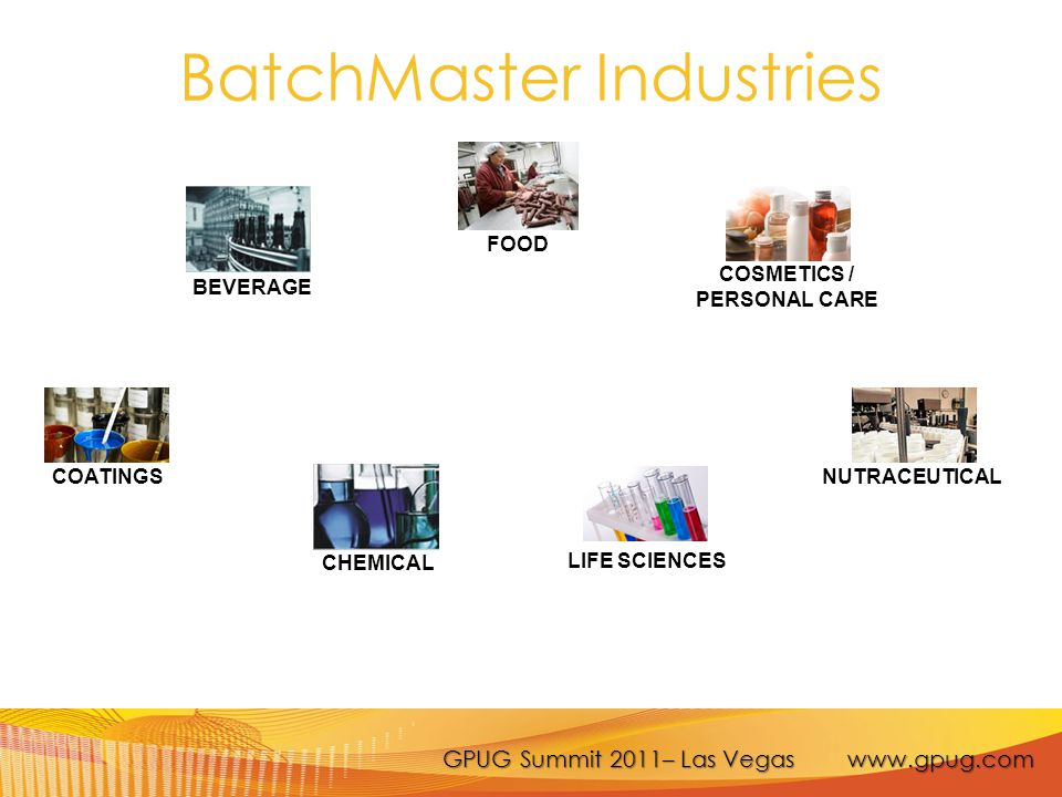 GPUG Summit 2011– Las Vegas www.gpug.com BatchMaster Industries FOOD COATINGS COSMETICS / PERSONAL CARE LIFE SCIENCES NUTRACEUTICAL BEVERAGE CHEMICAL