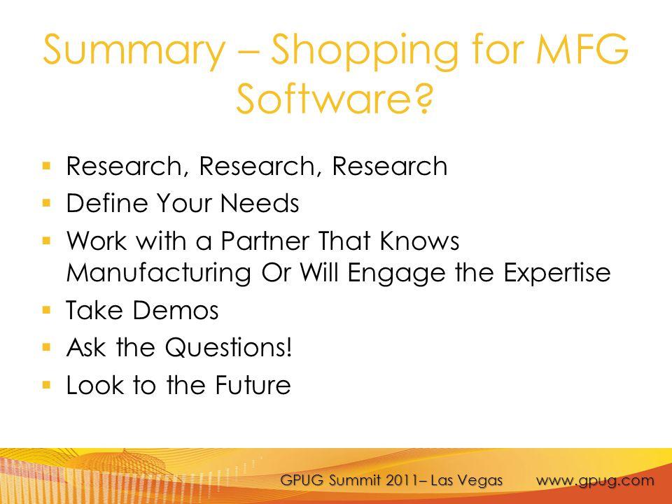 Summary – Shopping for MFG Software.