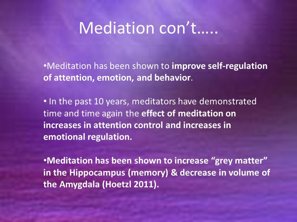 Mediation con't…..
