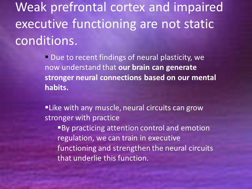 Weak prefrontal cortex and impaired executive functioning are not static conditions.  Due to recent findings of neural plasticity, we now understand